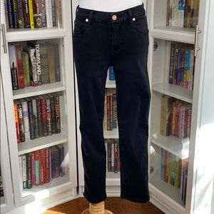 7 For All Mankind Black Kimmie Crop Jeans